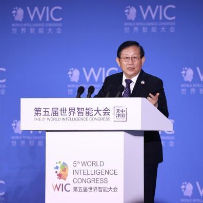 Wan Gang, vicepresidente del Comité Nacional de la Conferencia Consultiva Política del Pueblo Chino (CCPPCh) y el presidente de la Asociación China de Ciencia y Tecnología, pronuncia el discurso de apertura.