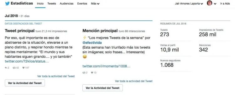Estadísticas Twitter efectivida Julio