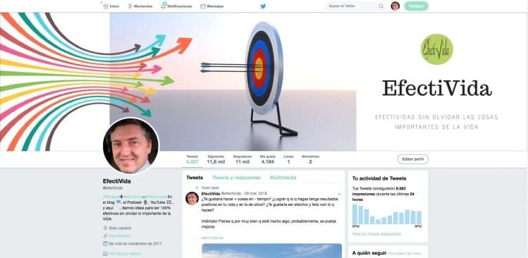Perfil de la cuenta de Twitter efectivida