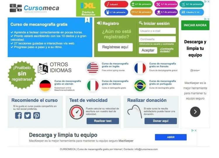 Curso online gratuito mecanografía CursoMeca