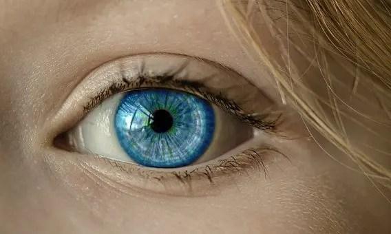 Un ojo color azul de una niña