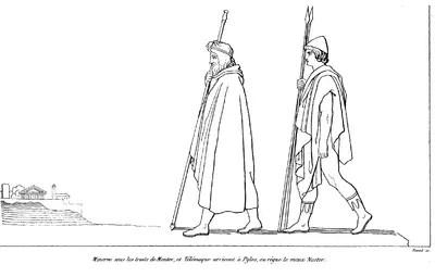 Ilustración de John Flaxman para una edición de 1810 de la Odisea: Transfigurada como Méntor, Atenea lleva a Telémaco hasta Pilos, la ciudad de Néstor.