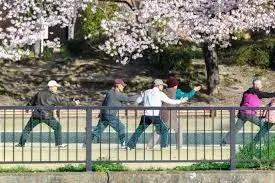 Ancianos haciendo ejercicios en un parque