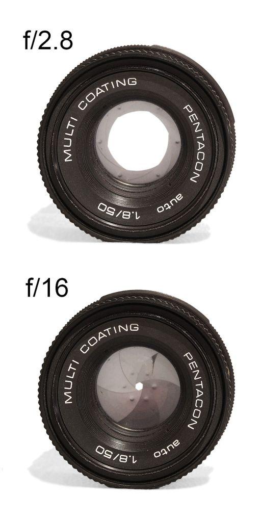 Diafragma con una abertura grande (f/2.8) y una apertura pequeña (f/16) | Autor https://commons.wikimedia.org/wiki/User:Mohylek