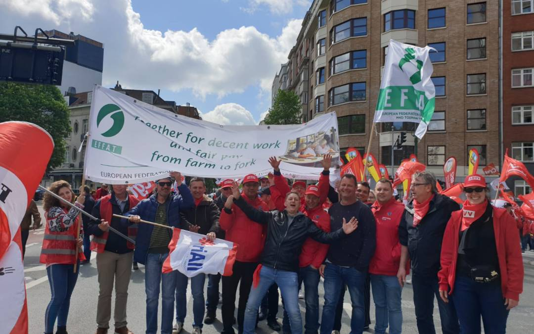 EFFAT joins euro demonstration for a fairer Europe for Workers