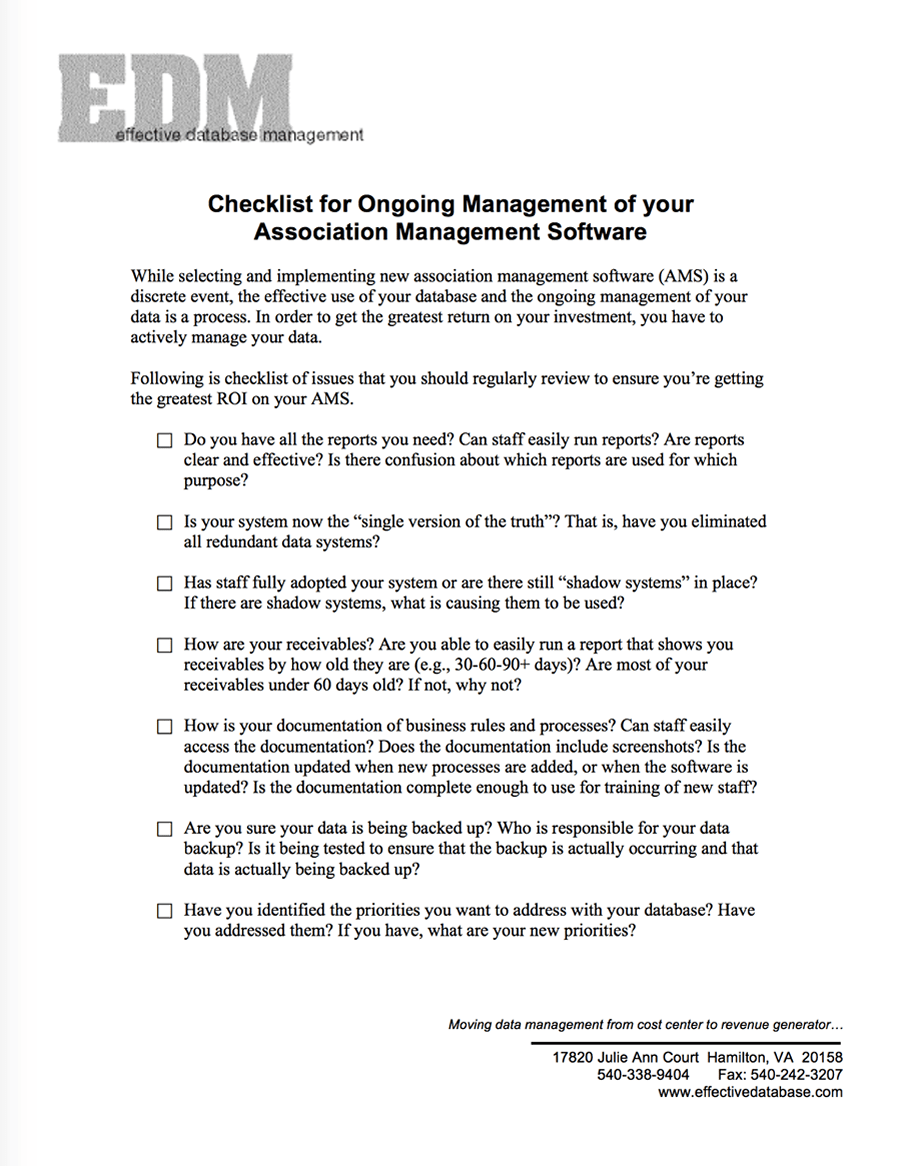 Checklist for Ongoing Management of your Association Management Software