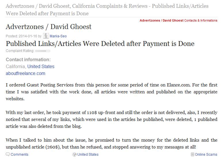 David G Complaintsboard scammer