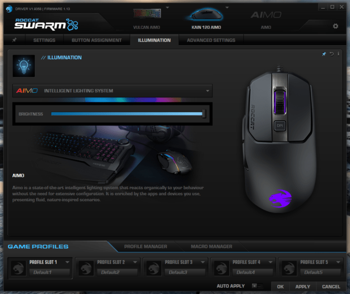 Roccat Kain 120 AIMO – Software