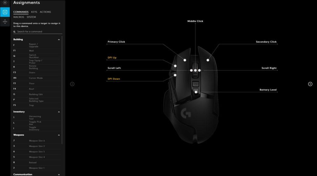 Logitech G502 Lightspeed G Hub