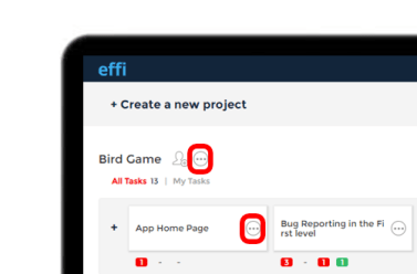 Effi Dashboard with highlighted rename icon.