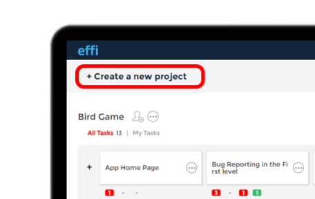 """Effi Dashboard with highlighted """"Create a new project"""""""