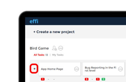 """Effi Dashboard with a highlighted """"+"""" to create new folder."""