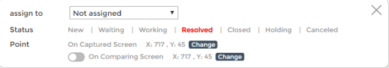 Comment status drop down menu to control every step of the QA process.