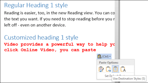 Copy paste with styles - paste special in word