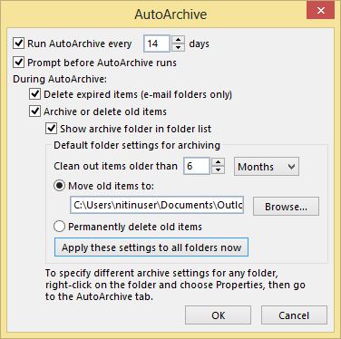 AutoArchive settings