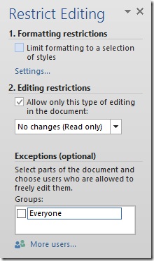 Word Restrict Editing