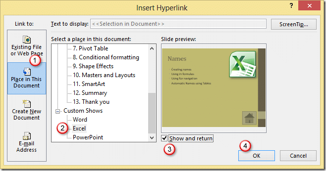 Insert Hyperlink in PowerPoint