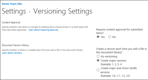 Publishing Excel reports - SharePoint Versioning settings