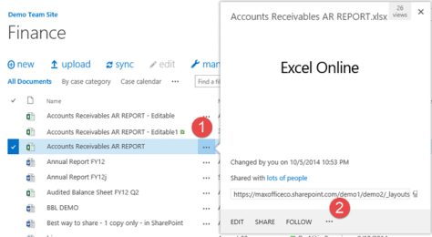 Publishing Excel reports - Excel Online