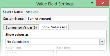Show values as Pivot table