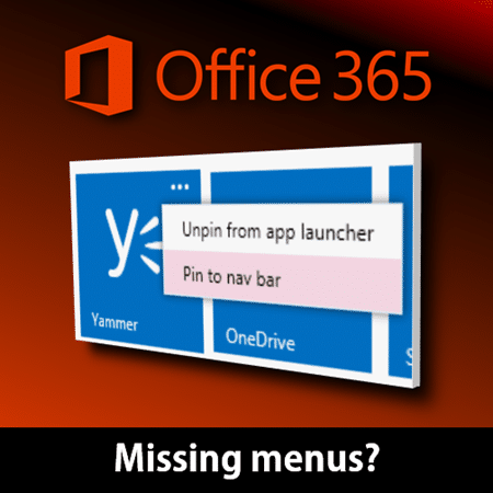 Pin Office 365 apps on the navigation bar - Efficiency 365