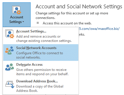 Outlook Social network settings
