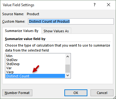distinct count - value field settings