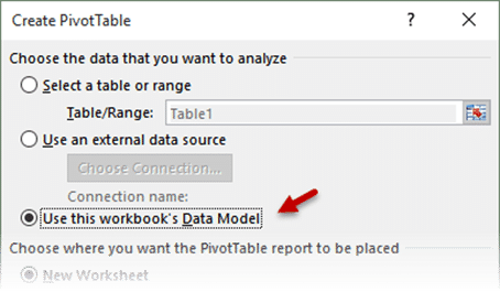 Create Pivot Table from Power Pivot Data Model