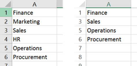Hidden cells in Excel