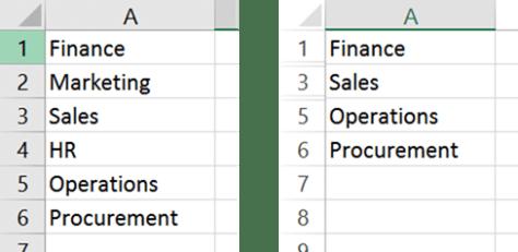 Hidden cells in Excel