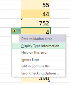 Display Type Information option in Table based errors
