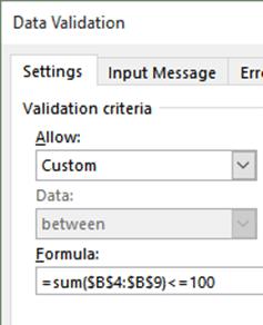 Data Validation using Formula