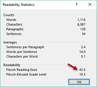 Readibility statistics in Word