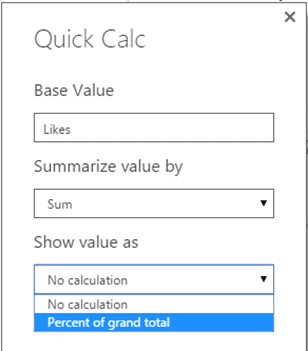 Quick Calc in Power BI - Dialog