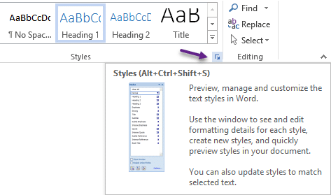 Word Style Inspector - dialog shortcut