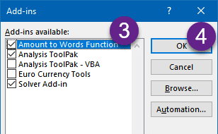 Amount to Words - Activate Add-in