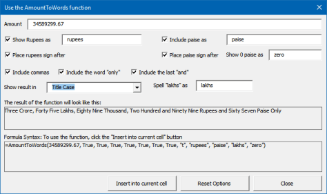 Amount to Words - Syntax creation dialog usage