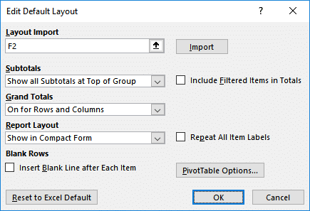 Change Pivot defaults dialog
