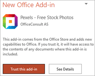 Pexels Add-in trust dialog
