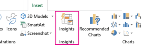 Insights option in Insert menu of Excel