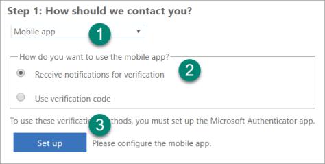 Choosing the Mobile App autentication option