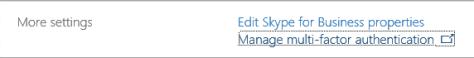 Office 365 MFA option in User properties