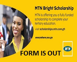MTN Bright Scholarship Program 2020 for Young Undergraduate Students in Ghana