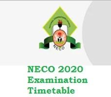 NECO 2020 Examination Timetable pdf