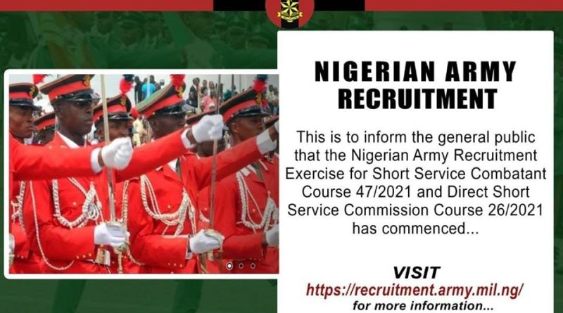 Nigerian Army DSSC and SSC Recruitment 2020/2021 Link Portal apply here