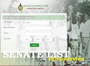 NYSC Verify Senate List Link Portal