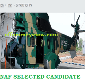 NAF Selected Successful Applicants in for Interview and Screening 2020 out - www.nafrecruitment-airforce-mil-ng
