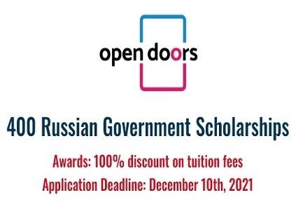 400 Russian Government Scholarships for International Students 2022