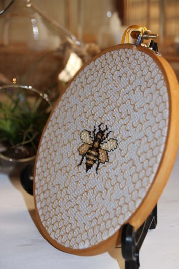 Bee cross stitch side view