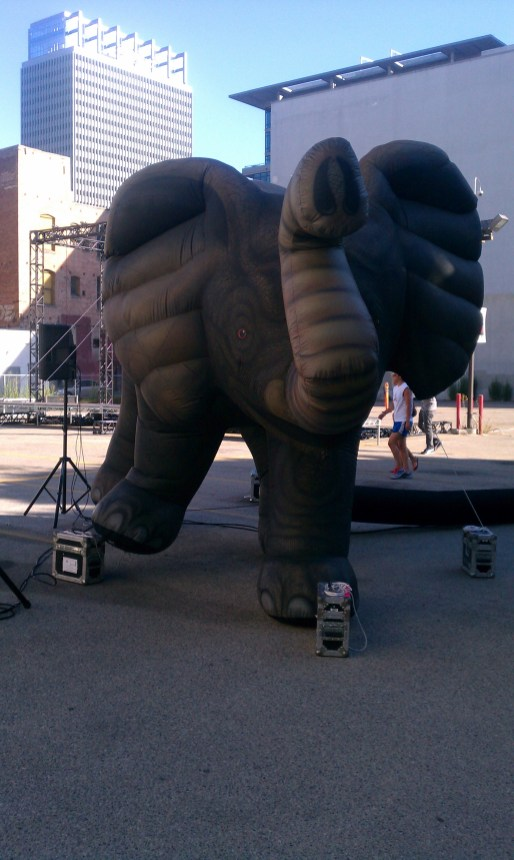 The Not So Concrete Mastodon; inflatable decoration